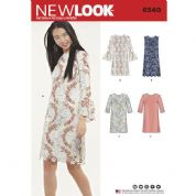 6540 New Look Pattern: Misses' Shift Dress